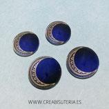 Cabuchón Cristal estampado luna azul marino ornamento dorado (10 unidades)