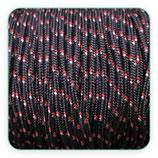 Cordón de Nylon de Escalada Redondo 3mm negro y pizcas rojo (3 metros)