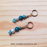 Bisutería acabada- Pendientes turquesas y perla - T019