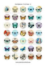 35 Imágenes vintage de mariposas II 30x30mm