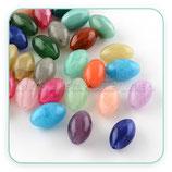 Abalorio acrílico imitación piedra en forma oval 20x8mm  (5 pares colores variados)