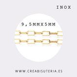 INOX - Cadena eslabón grande redondeado dorado INOX 9,5mm (1 metro) P49T