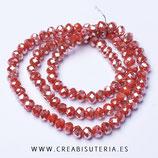 Abalorios -  Cristal facetado  4x3mm color rojo efecto plateado II  P03401 (145 piezas)