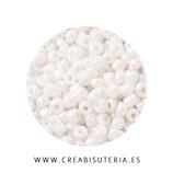 Abalorios -  Cristal de colores rocalla anacarada color perla blanca acabado  nácar 40gr P012-121
