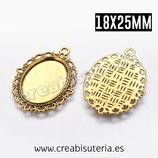 Camafeo oval ornamental dorado 18x25mm