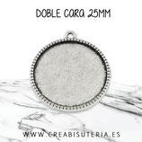 Camafeo doble cara 25x25mm RIBETE PLATA VIEJA CAMBAS-P045 (10 unidades)