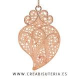 Colgante labrado símbolo moda corazón muy grande DORADO ROSA  P110G (unidad)