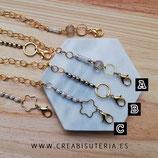 Producto acabado - Cordón para mascarilla modelo cadena dorada y adorno