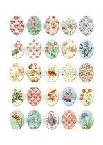 Lámina 25 Imágenes estampados Flores Vintage II 30x40mm