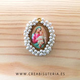 Producto Acabado - Medalla religiosa - Virgen Maria manto turquesa y perlitas