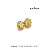 Entrepieza dorada - DO1- X - latón - Bicono 4x4mm mini dorado P10503 (25 unidades)