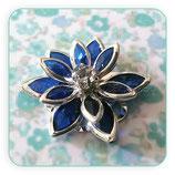 Cabuchón plástico y cristal facetado azul en forma de flor 25mm (5unidades)