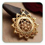 Colgante Espiritual - Flor de la vida dorado borde ornamental - C77170 (2 unidades)