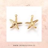 INOX - Colgante acero inoxidable DORADO Estrella de mar textura - 4 UNIDADES