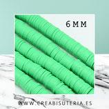 Abalorio arcilla Katsuki polimérica redondo plano  6mm (330 unidades apro) verde claro
