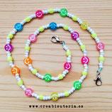 Producto acabado - Cordón para mascarilla abalorios acrílicos Smileys de colores y rocalla blanca