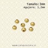 Entrepieza BOLA dorada-  de cobre, 3mm  interior 1,2mm (50 piezas aproximádamente) C19