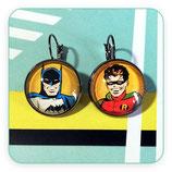 Bisutería acabada- Pendientes - Clip negro Batman y Robin