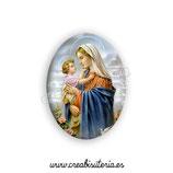 Cabuchón Cristal Religión - Virgen María y Niño Jesús (m. perfil)
