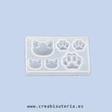 Molde de silicona , Gato + Huellas -  Ideal para colgantes, pendientes.  MS021