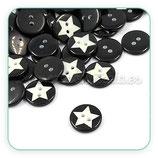 Botones blanco y negro Estrella (20 unidades)
