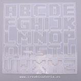 """Molde de silicona , abecedario grande modelo """"PIXEL""""   MS017"""