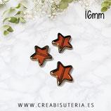 Abalorios -  Estrella de cristal, color ámbar borde dorado 16mm (10 unidades)