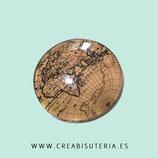 Cabuchón ilustrado - Globo terraqueo/ Mapa mundi  vintage tono SEPIA