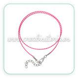 Correa collar algodón encerado 1,5mm rosa y blanco COR-C57862 - 10 unidades