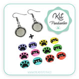 KIT PENDIENTES Hippies plateados 12mm gatito y huella color