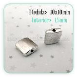 Entrepieza P6 - 77 cuadrado plateado 1cm ENTOOO-P55824 (15 piezas)
