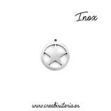 INOX - Charm estrella en círculo (10 unidades)