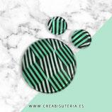 Cabuchón de cristal estampado GEOMETRIA. rayas verdes, negras y blancas 30+12+12mm CG04