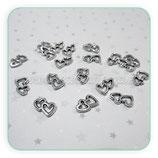 Charm corazón doble huecos mini (25unidades) CHAOOO-S325