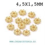 Entrepieza dorada - Flor disco plana 4x4mm - DO1-  ENTOOO-C11 (140 piezas aprox.)