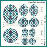 Imagen  monotema tapiz retro verde azul