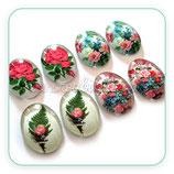 LOTE ÚNICO - Flores vintage >rosas 18x25mm  / 8 unidades