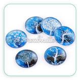 5 Cabuchón cristal varios Árbol Azul 25mm