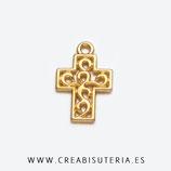 Colgante Espiritual -   Cruz dorada pequeña ornamentos espiral P111 (20 unidades)