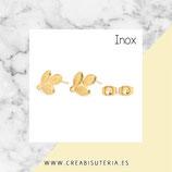 INOX - Pendiente base ramita 3 hojas INOX DORADO NEW* C81 (1par)