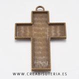 Colgante cruz muy grande con fondo para decorar bronce viejo P088 (unidad)