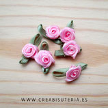 Adorno 10 Flores de tela color rosa claro ADO-C11795