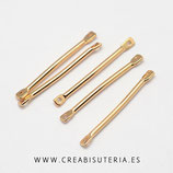 Charm / conector -  Barra dorada rectangular conectora chapada en oro (10 unidades) P9321