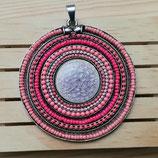 Colgante Mandala étnica color CORAL/ROSA