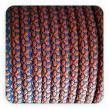 Cordón estampado AZUL Y NARANJA  6,5mm 1 metro