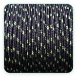 Cordón de Nylon de Escalada Redondo 3mm negro y pizcas verde pistacho (3 metros)