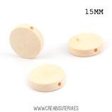 Madera círculo abalorio plano 15mm   MAD-C045  (10 unidades)