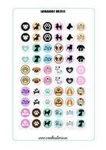 60 gráficos de perros sobre color 18mm