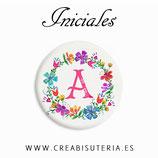 Cabuchón Cristal Iniciales florecillas 25mm