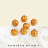 Abalorio de resina  imitación piedra en forma redonda  amarilla  12mm C902  (10 unidades)
